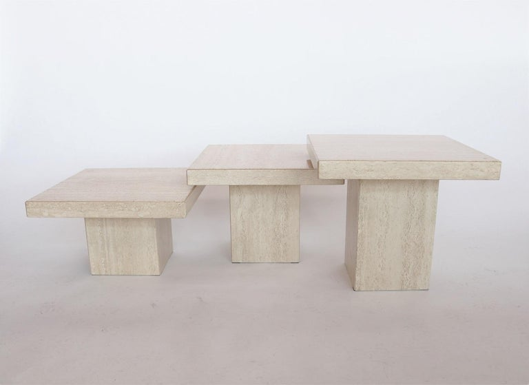 Hollywood Regency Italian Travertine Marble Coffee Tables from the 1970s, Set of Three For Sale