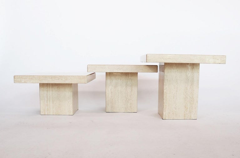Polished Italian Travertine Marble Coffee Tables from the 1970s, Set of Three For Sale
