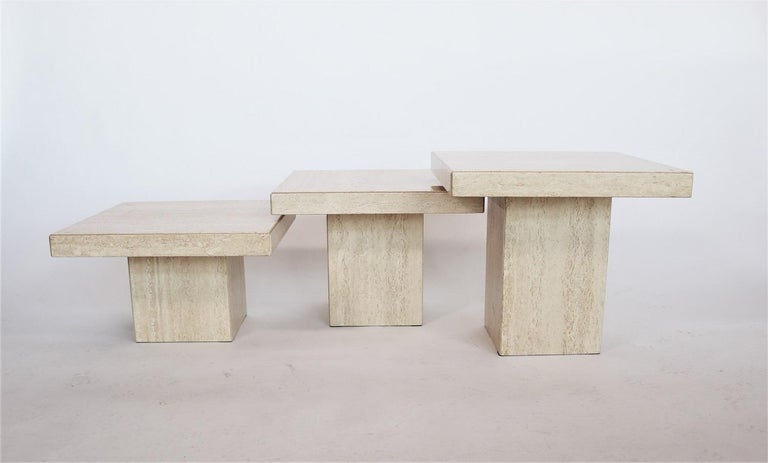 Late 20th Century Italian Travertine Marble Coffee Tables from the 1970s, Set of Three For Sale