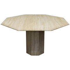 Italian Travertine Marble Round Dining Table, circa 1970