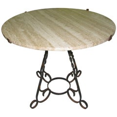 Italian Travertine Round Top with Hand Wrought Iron Base Dining Table circa 1950