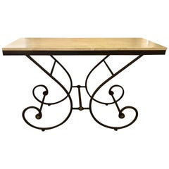 Italian Travertine Stone and Iron Scroll Console Table