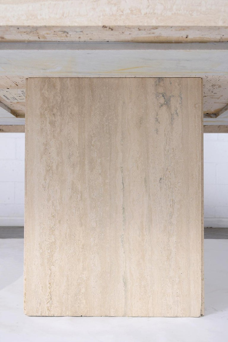 Italian Travertine Stone Dining Table For Sale 4