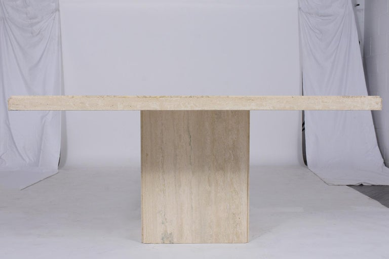Hand-Crafted Italian Travertine Stone Dining Table For Sale