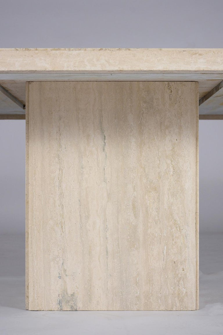 Italian Travertine Stone Dining Table In Good Condition For Sale In Los Angeles, CA