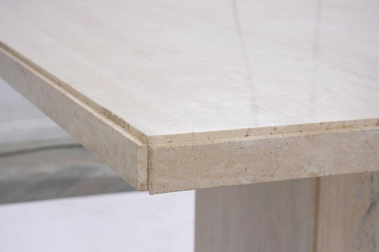 Marble Italian Travertine Stone Dining Table For Sale