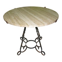 Italian Travertine Stone Round Top with Wrought Iron Base Dining Table