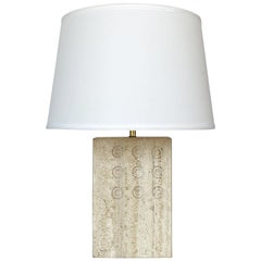 Italian Travertine Table Lamp by Reggiani for Raymor