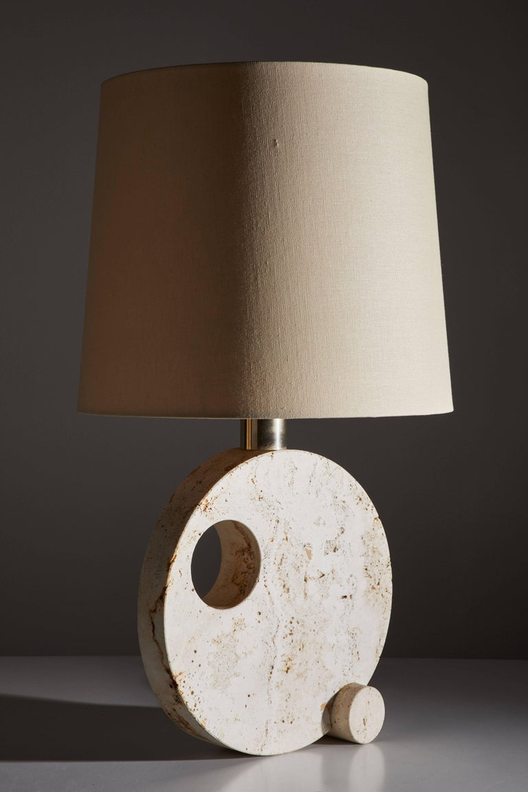 Mid-Century Modern Italian Travertine Table Lamp For Sale