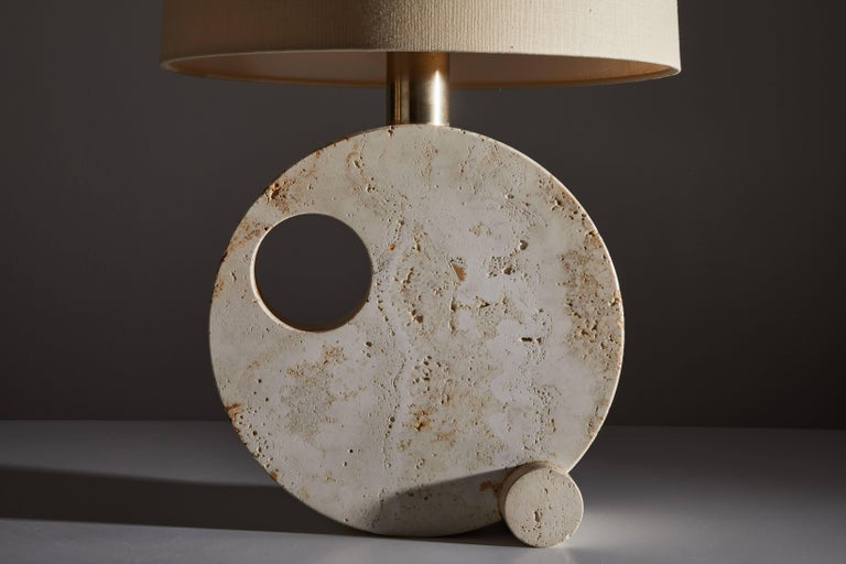 Late 20th Century Italian Travertine Table Lamp For Sale