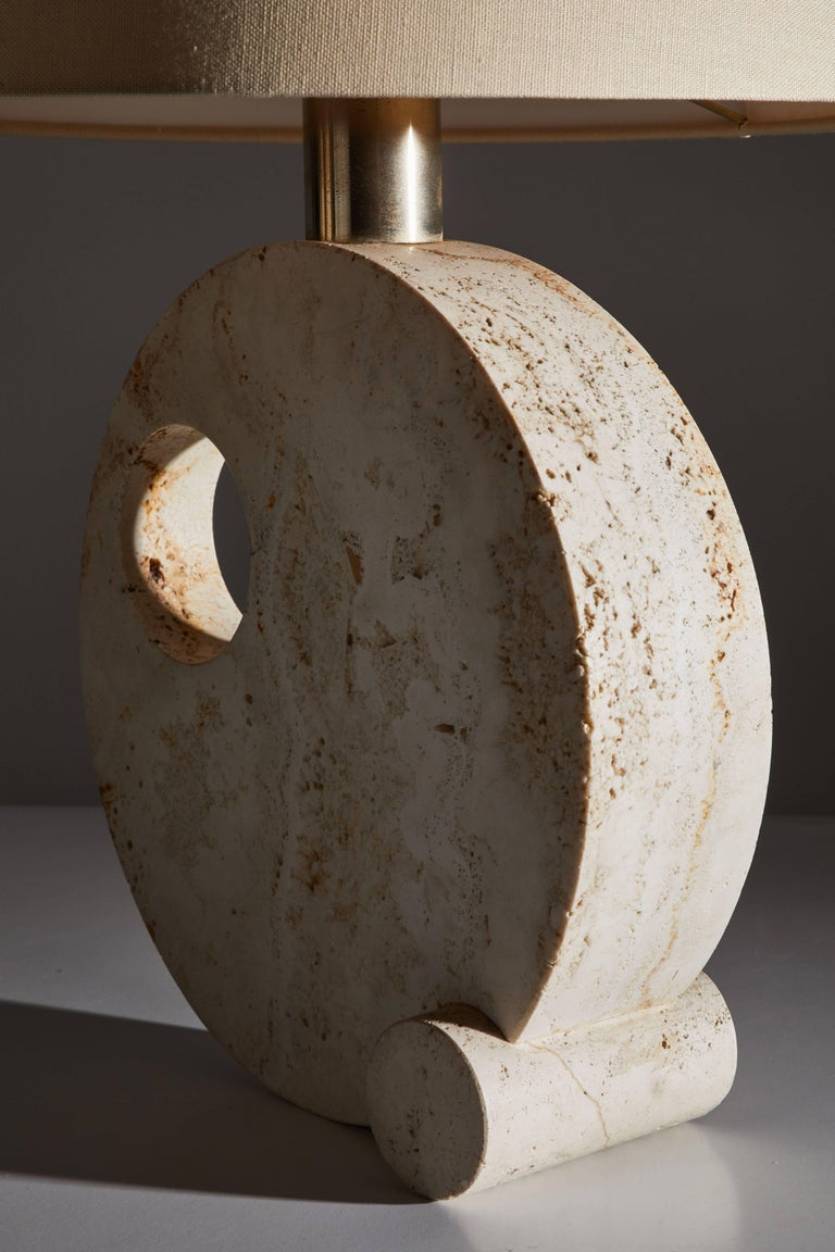 Italian Travertine Table Lamp For Sale 1