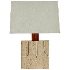 Italian Travertine Table Lamp