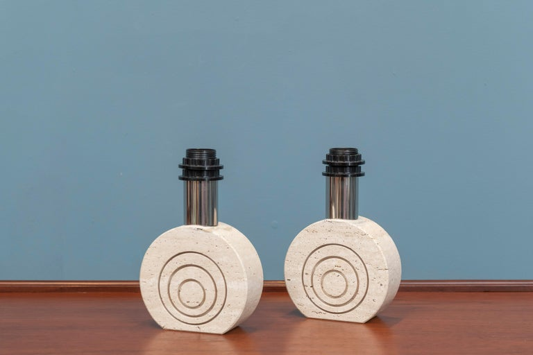Pair of travertine etched table lamps attributed to Rayor, Italy. 