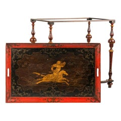 Italian Tray Table Lacquered Painted Wood, Venice, 18th Century Venice Rococò