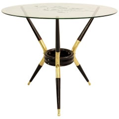 Italian Tripod Table With Three Angular Legs, Attributed To Cesare Lacca, 1950