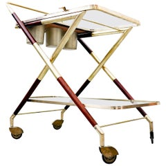 Italian Trolley by Cesare Lacca, Glass and Brass, 1950s