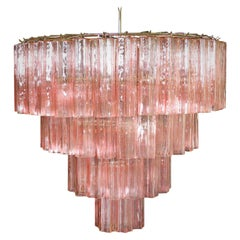 Italian Tronchi Chandelier, 78 Pink Glasses, Murano, 1990