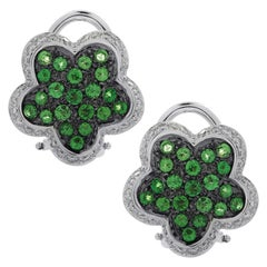 Italian Tsavorite Garnet and Diamond Flower Stud Earrings