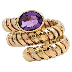 Italian Tubogas Tri-Color Gold Amethyst Ring