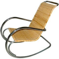 Italian Tubular Chrome & Wicker Rocking Chair