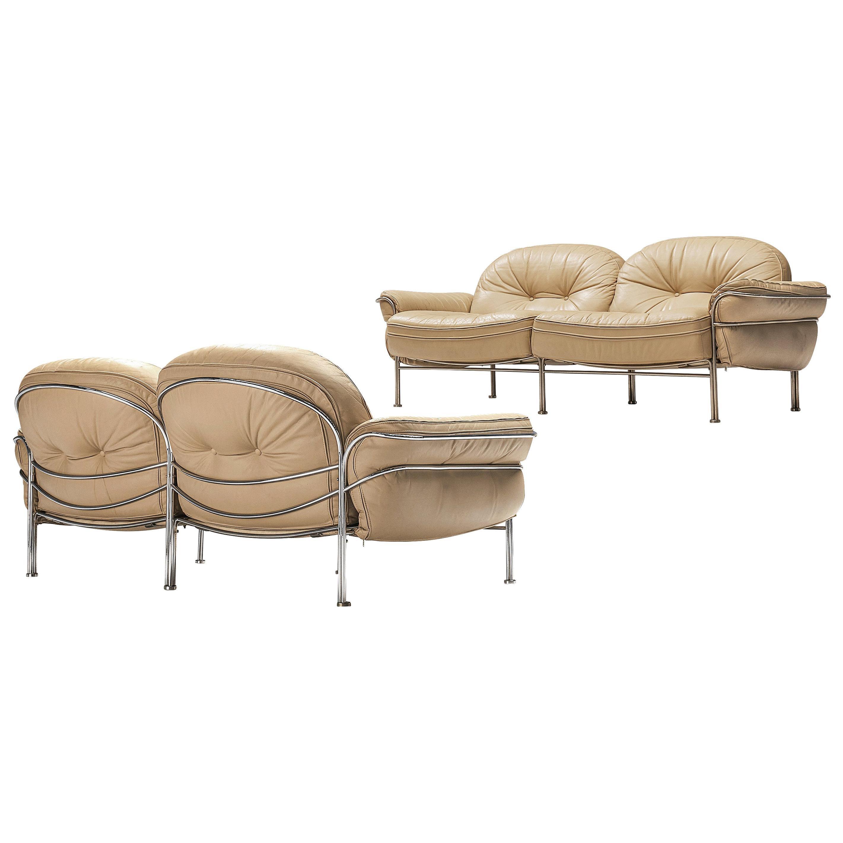 Italian Tubular Two Seat Sofas in Leather