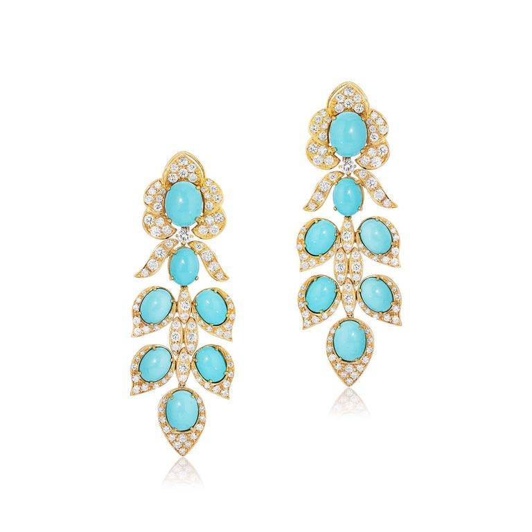 Italian Turquoise and Diamond Earrings 18k Yellow Gold Andreoli  These Andreoli turquoise and diamond earrings features 14 turquoise drops surrounded by numerous round briliant cut diamonds.  - 7.09 carat Diamond - 5.83 grams Reconstituted