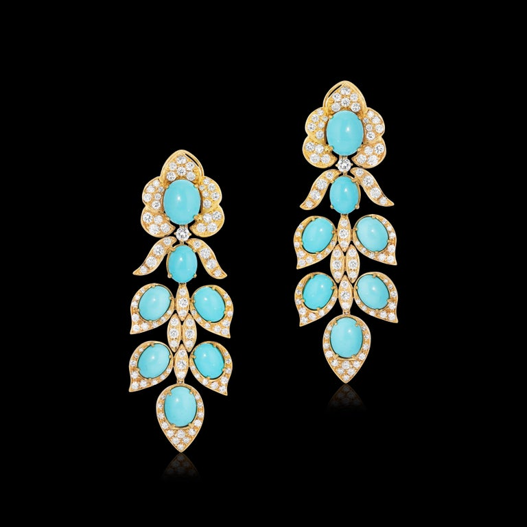 Cabochon Italian Turquoise and Diamond Drop Earrings 18k Yellow Gold Andreoli For Sale