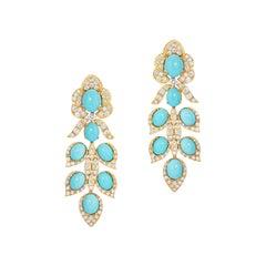 Italian Turquoise and Diamond Drop Earrings 18k Yellow Gold Andreoli