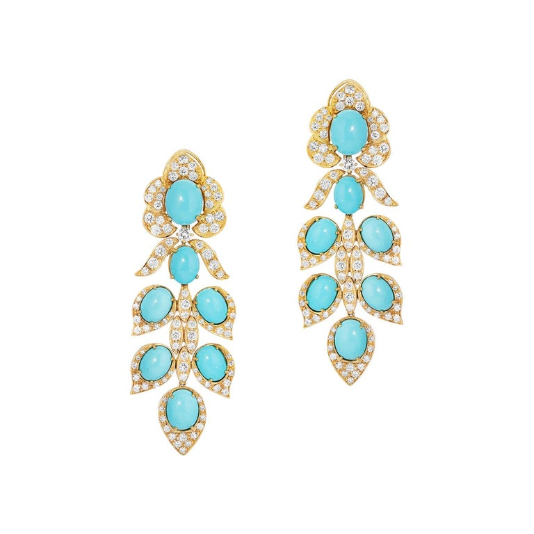 Italian Turquoise and Diamond Drop Earrings 18k Yellow Gold Andreoli For Sale