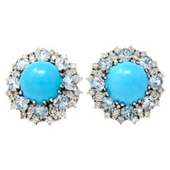 Italian Turquoise Diamond and Aquamarine Clip-On Earrings in White Gold