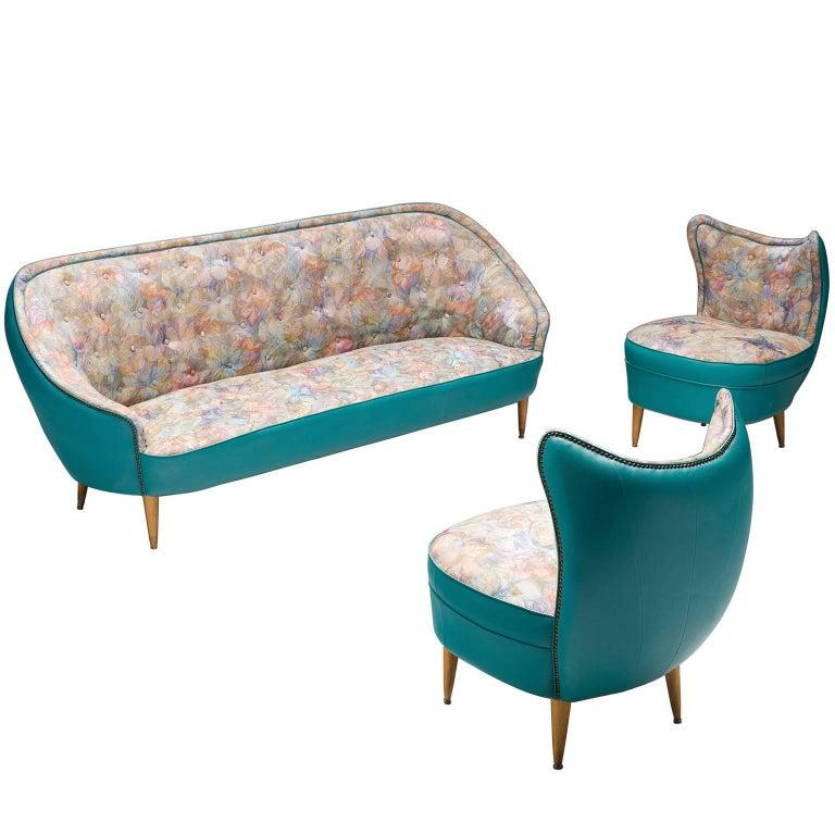 Italian Turquoise Living Room Set, circa 1950