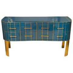 Italian Turquoise Opaline Glass Chest of Drawers, Brass Handles and Inlays, 1980