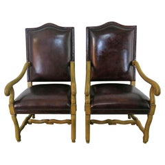 Italian Tuscan Style Leather Upholstered Armchairs, Pair