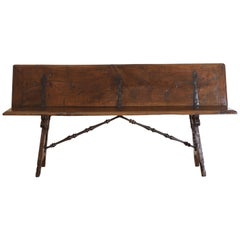 Italian, Tuscany, Baroque Walnut and Iron Bench with Folding Backrest