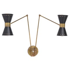 Italian Two-Armed Adjustable Metal Wall Lamp with Brass Elements