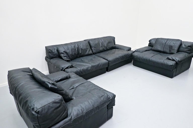 Italian two-seat sofa, leather, 1960s.