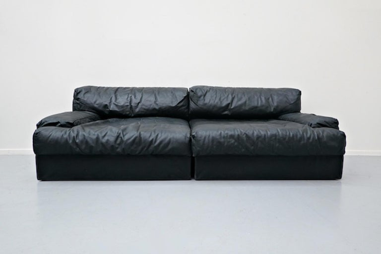 Late 20th Century Italian Two-Seat Sofa, Leather, 1960s For Sale