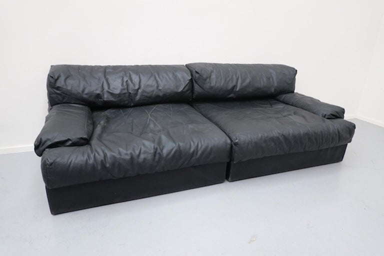Italian Two-Seat Sofa, Leather, 1960s For Sale 2