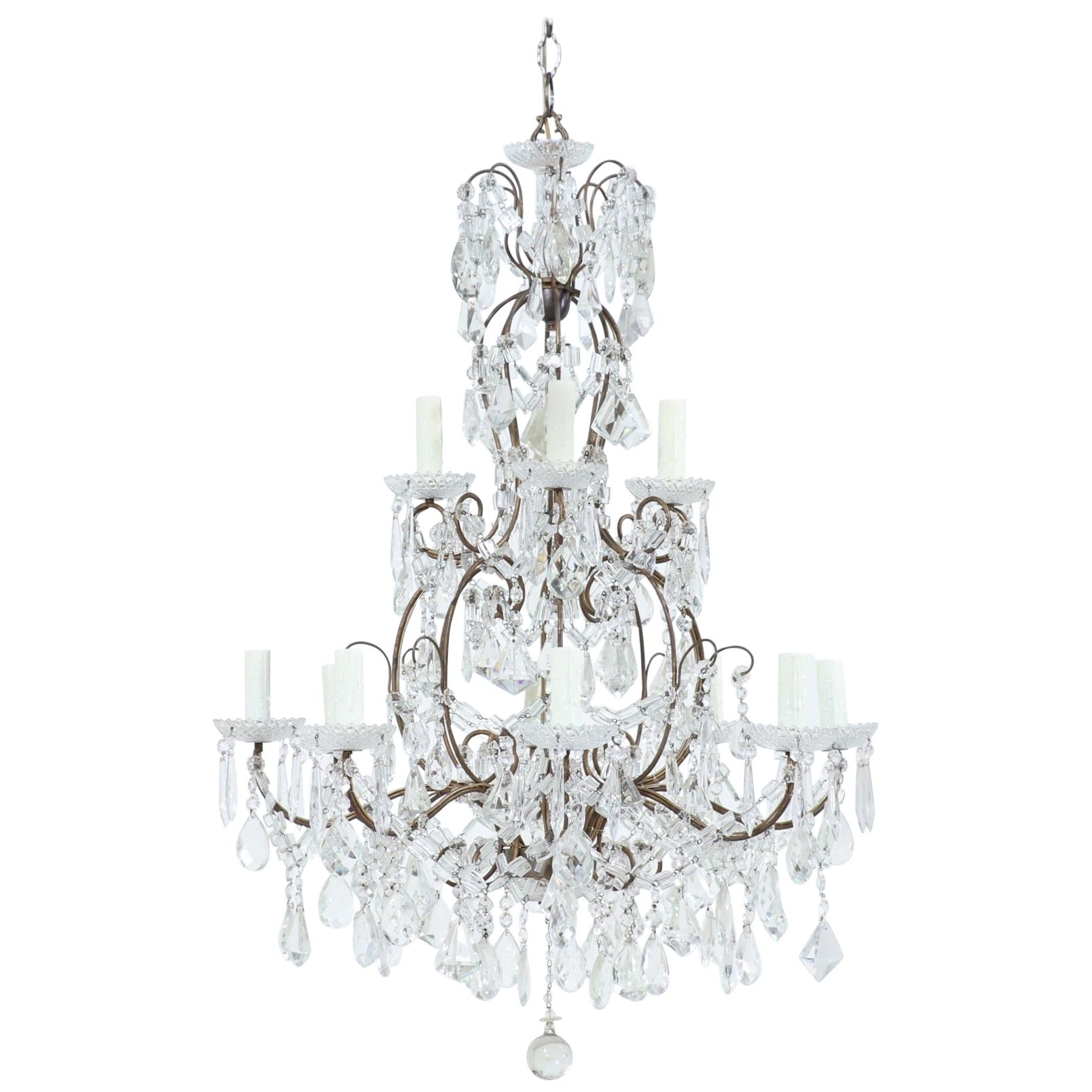 Italian Two-Tier Iron and Crystal Beaded Chandelier