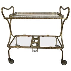 Italian Two-Tiered Brass Drinks Trolley on Wheels by Pier Luigi Colli