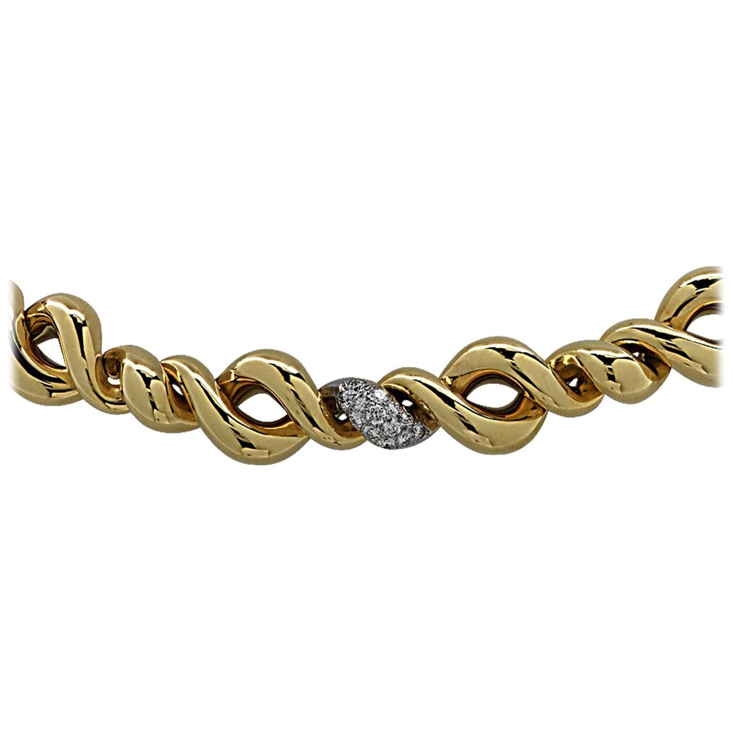 Italian Two-Tone 18 Karat Gold and Diamond Necklace