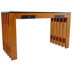 Italian Unique Pine Desk Console Black Opaline Glass Top, 1960