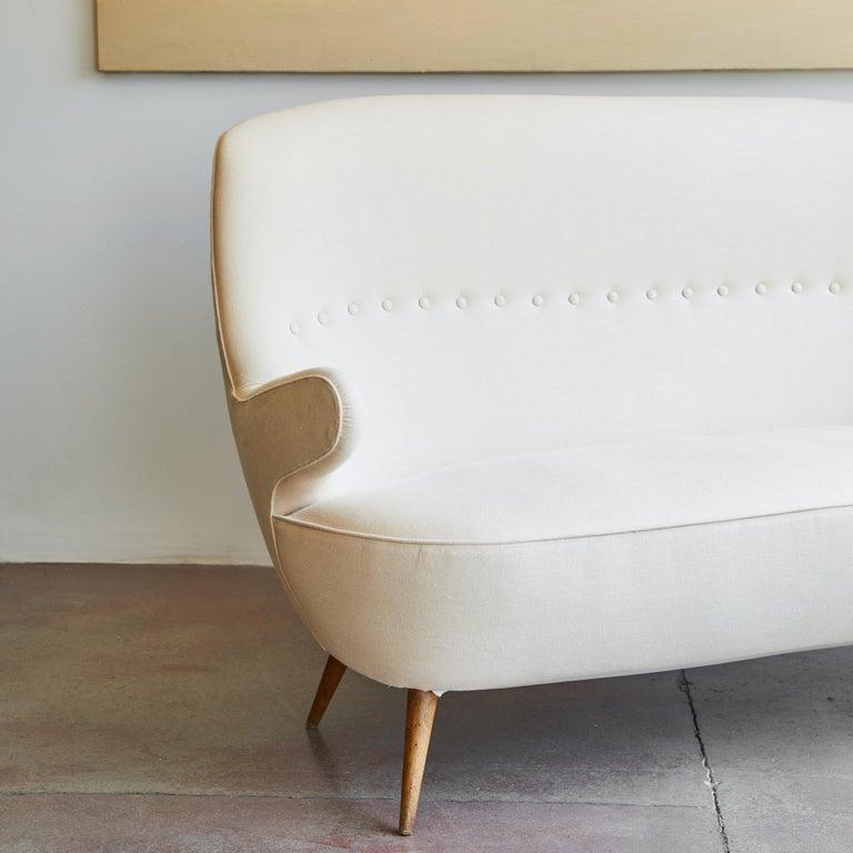 Linen Italian Upholstered Sofa For Sale
