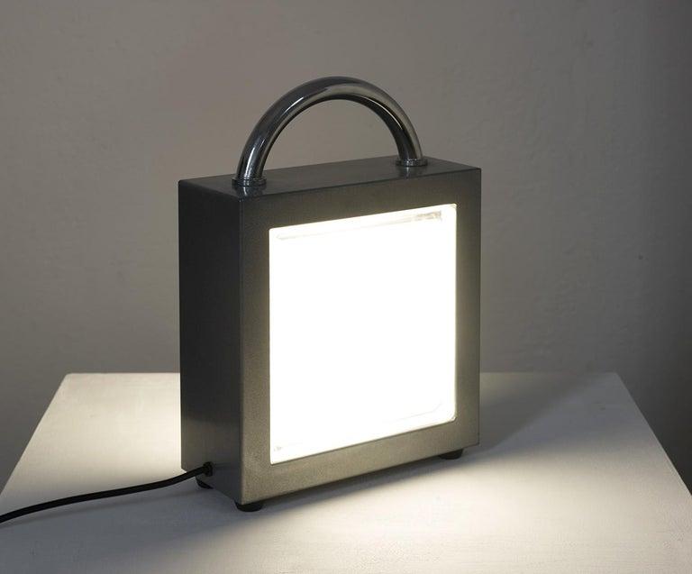 Post-Modern Italian Valigetta Table Light by Matteo Thun for Bieffeplast 1988, Memphis Style For Sale
