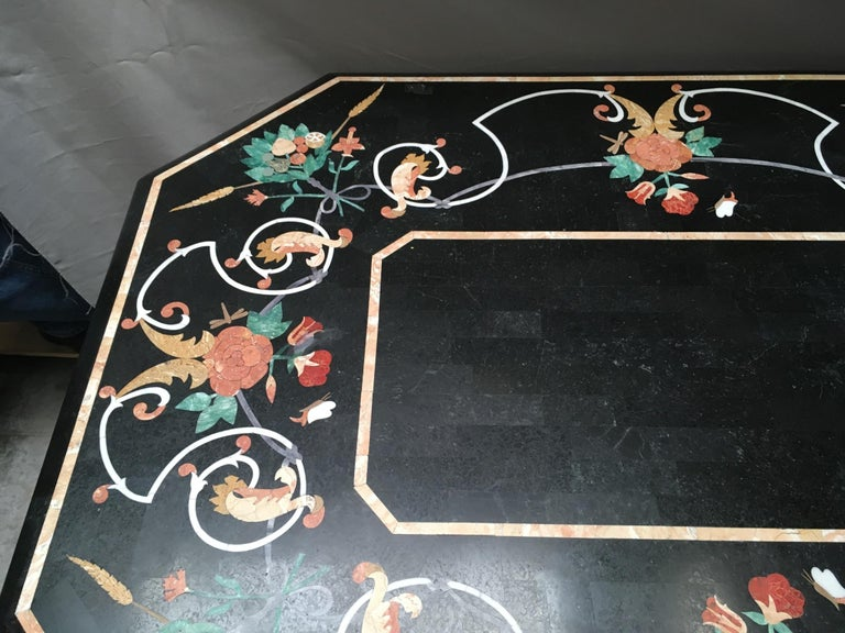Italian Variegated Marble Inlaid Dining Table For Sale 3