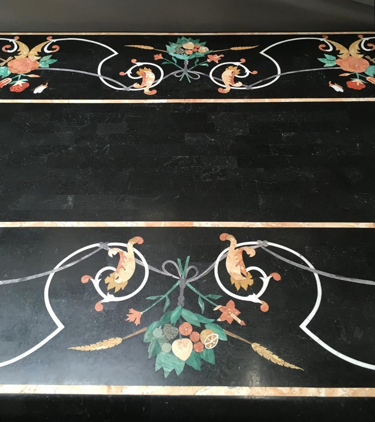 Italian Variegated Marble Inlaid Dining Table For Sale 4