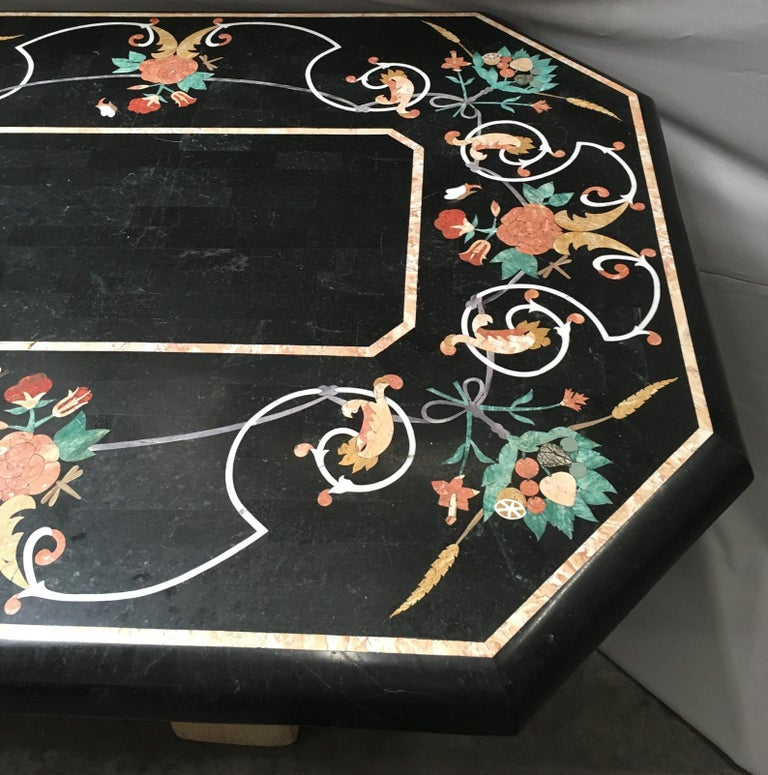 Italian Variegated Marble Inlaid Dining Table For Sale 5