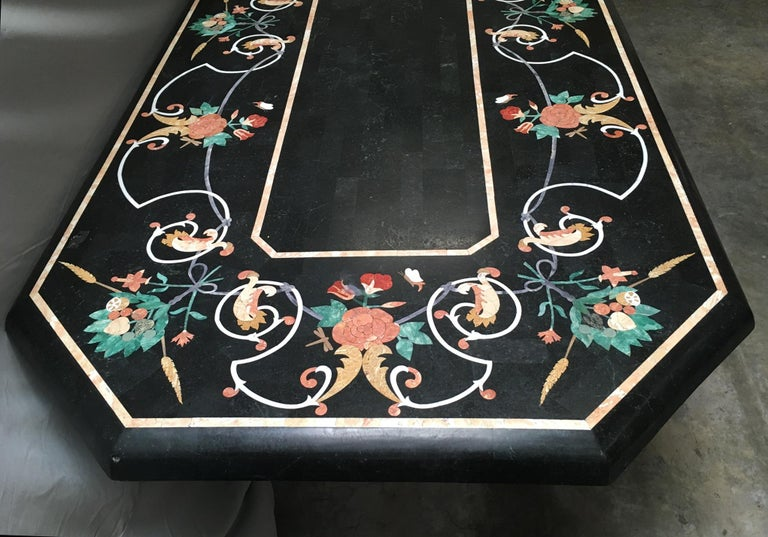 Italian Variegated Marble Inlaid Dining Table For Sale 7
