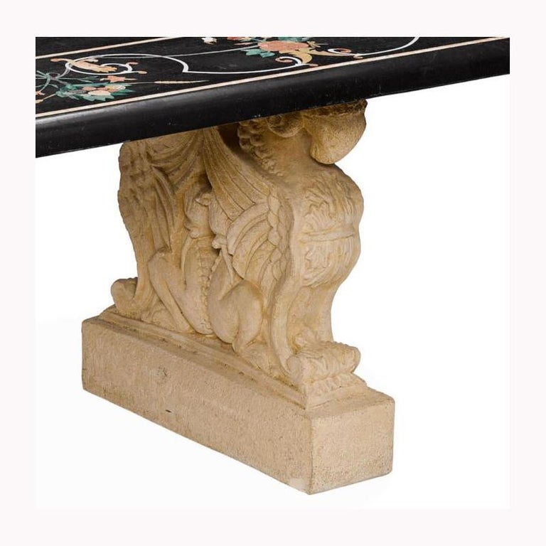 Italian Variegated Marble Inlaid Dining Table For Sale 11