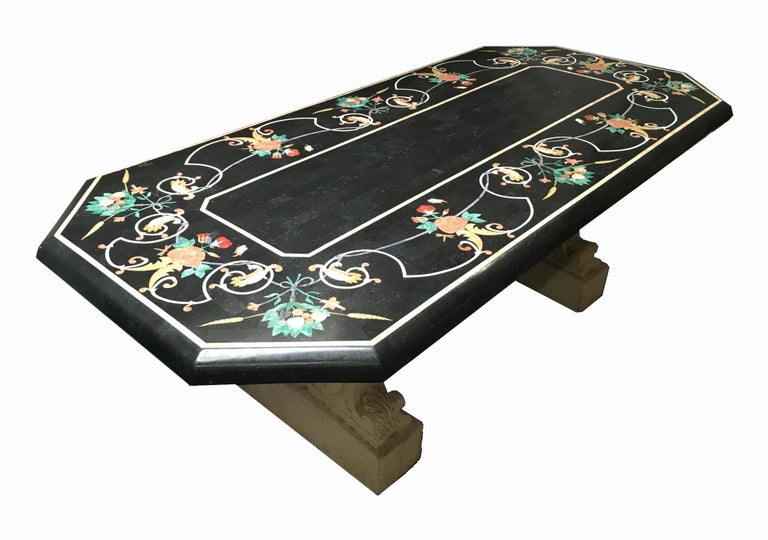 Inlay Italian Variegated Marble Inlaid Dining Table For Sale